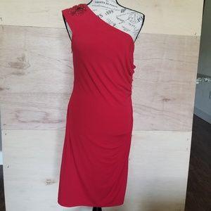 David Meister Red One Shoulder Cocktail Dress